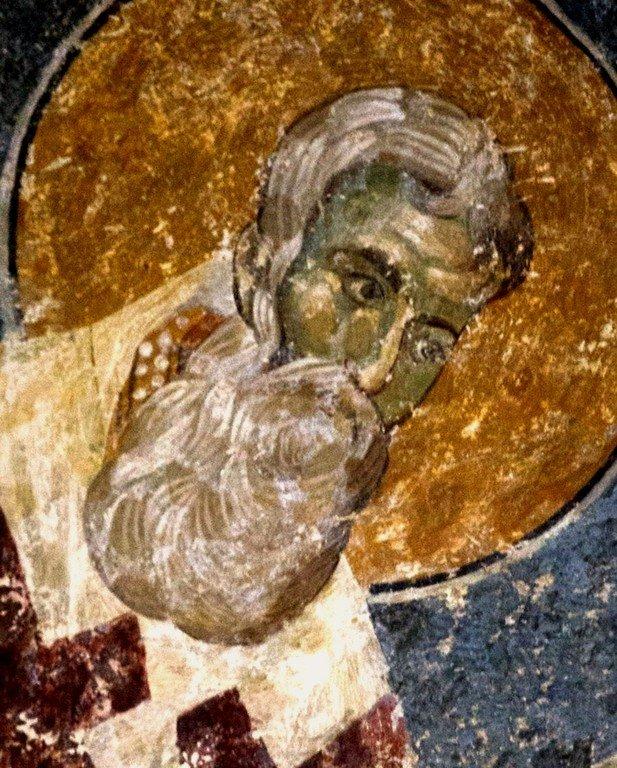 Святитель. Византийская фреска в церкви Старая Митрополия в Верии, Греция.
