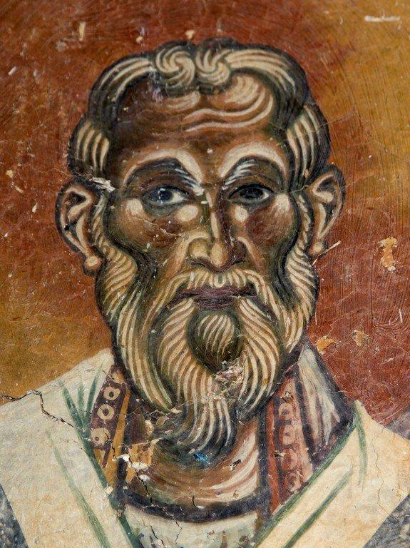 Святой Равноапостольный Кирилл, просветитель славян. Фреска церкви Святого Георгия в Курбиново, Македония. 1191 год.