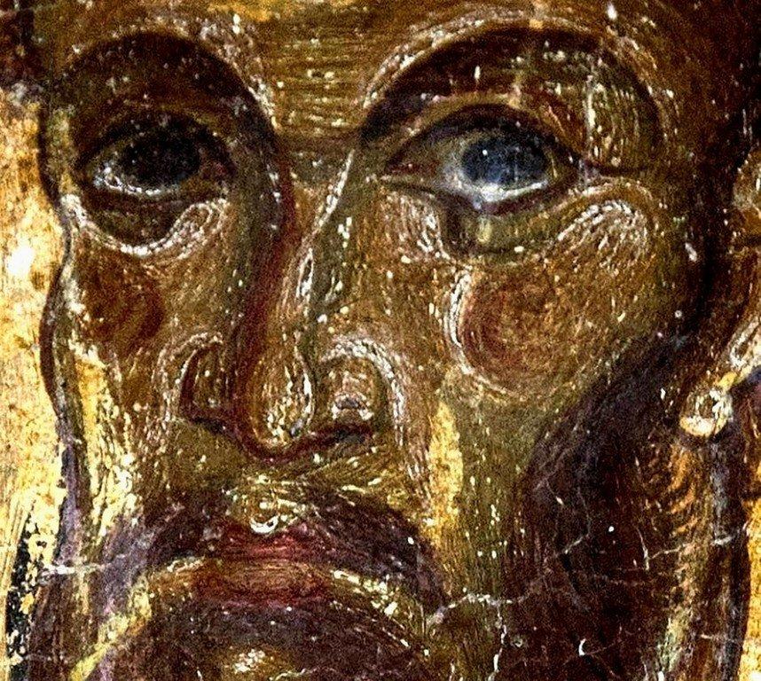 Святой Великомученик Феодор Тирон. Фреска церкви Святых Врачей в Кастории, Греция. Конец XII века.
