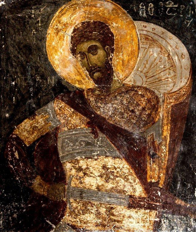 Святой Великомученик Феодор Тирон. Фреска церкви Святых Архангелов в Кастории, Греция. 1360 год.