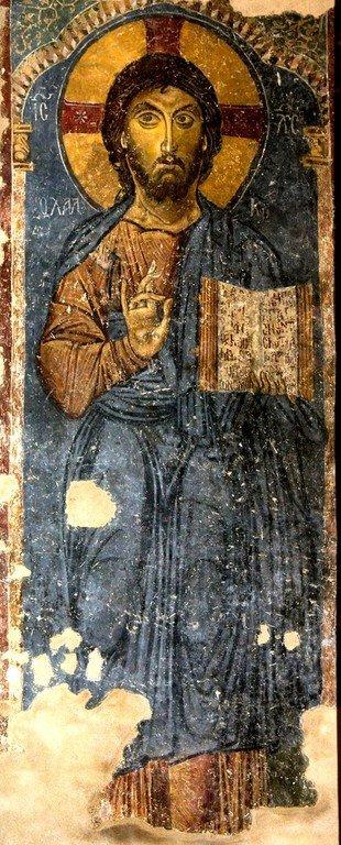 Христос Халкитис. Византийская фреска в церкви Старая Митрополия в Верии, Греция.