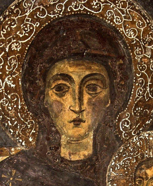 Пресвятая Богородица с Младенцем на троне. Византийская фреска в церкви Святого Стефана в Кастории, Греция. Фрагмент.