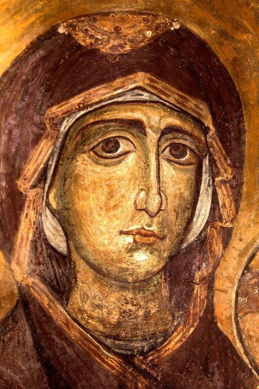 Богоматерь Горгоэпикоос (Скоропослушница). Византийская фреска в церкви Святого Стефана в Кастории, Греция. Фрагмент.