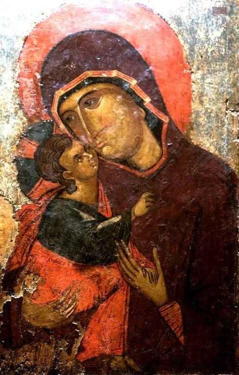 Богоматерь Елеуса. Византийская икона. Византийский музей в Кастории, Греция.