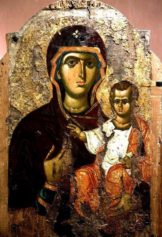 Богоматерь Одигитрия. Византийская икона второй половины XIII века. Византийский музей в Афинах.