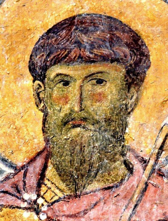 Святой Великомученик Феодор Тирон. Фреска Бачковского монастыря (Болгария). XI век.