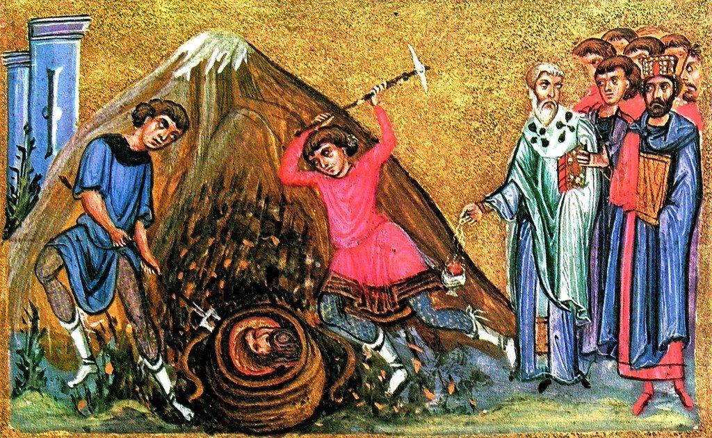 Обретение главы Святого Иоанна Предтечи. Византийская миниатюра XI века. Монастырь Дионисиат на Афоне.