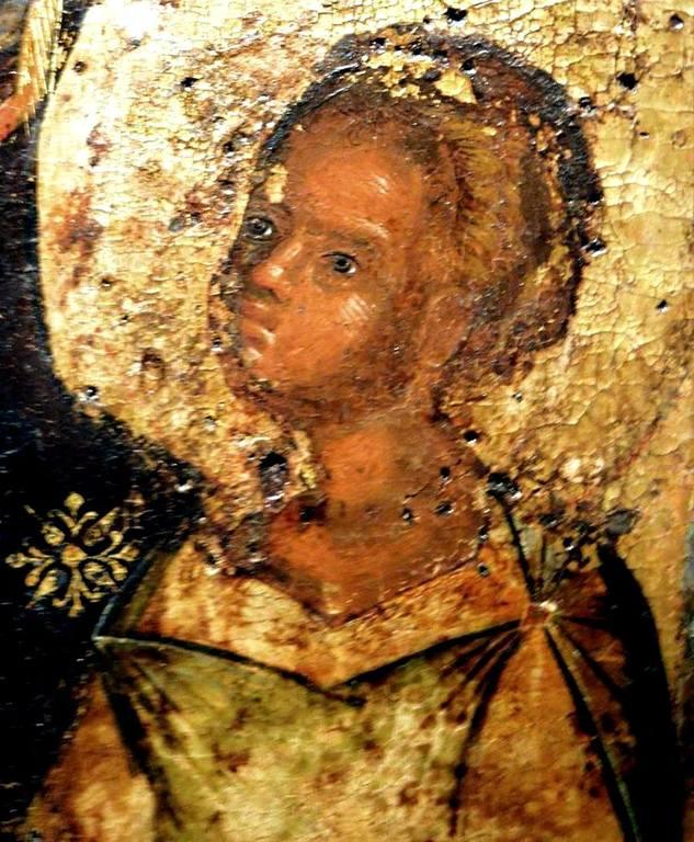 Богоматерь Одигитрия. Чудотворная икона из церкви Панагии Лаодигитрии в Салониках, Греция. XIV век. Фрагмент.