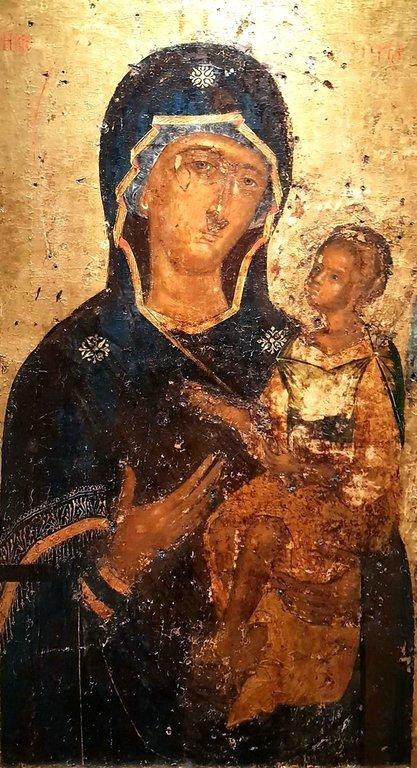 Богоматерь Одигитрия. Чудотворная икона из церкви Панагии Лаодигитрии в Салониках, Греция. XIV век.