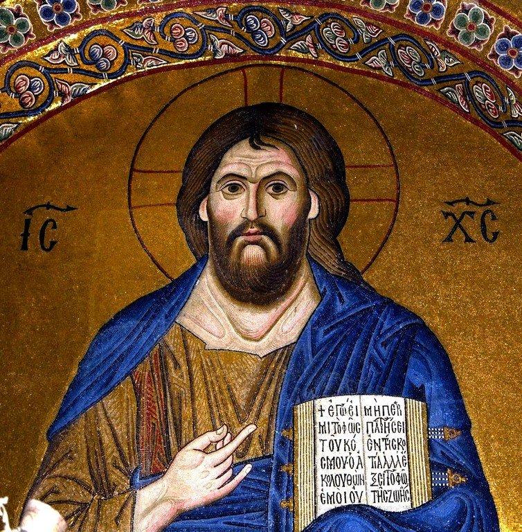 Христос Пантократор. Мозаика монастыря Осиос Лукас, Греция. 1030 - 1040-е годы.