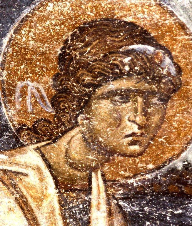 Ангел Господень. Фреска собора Святой Софии в Охриде, Македония. XI век.