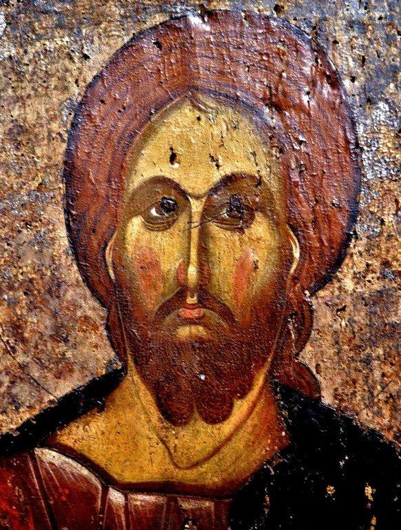 Христос Пантократор. Икона. Византийский музей в Верии, Греция. Лик Спасителя.