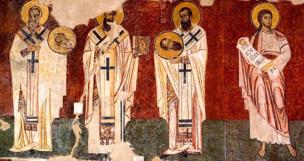 Святые. Византийская фреска в церкви Старая Митрополия в Верии, Греция.