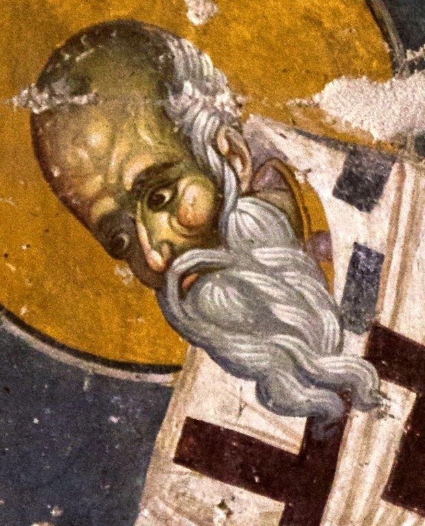 Священномученик Протерий, Патриарх Александрийский. Византийская фреска в церкви Старая Митрополия в Верии, Греция.