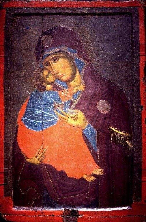 Богоматерь Елеуса. Икона. Византия, начало XV века. Византийский музей в Кастории, Греция.
