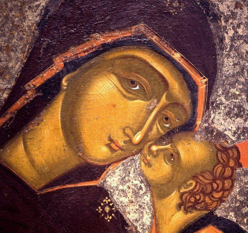 Богоматерь Елеуса. Икона. Византия, около 1400 года. Византийский музей в Кастории, Греция. Фрагмент.