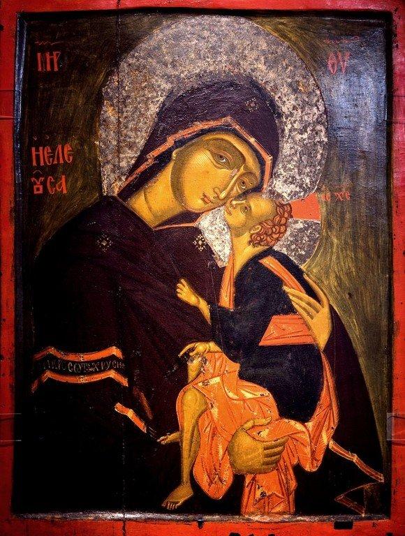 Богоматерь Елеуса. Икона. Византия, около 1400 года. Византийский музей в Кастории, Греция.