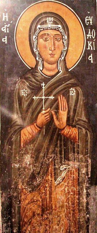 Святая Преподобномученица Евдокия. Фреска церкви Панагии Форвиотиссы (Панагии Асину) на Кипре.