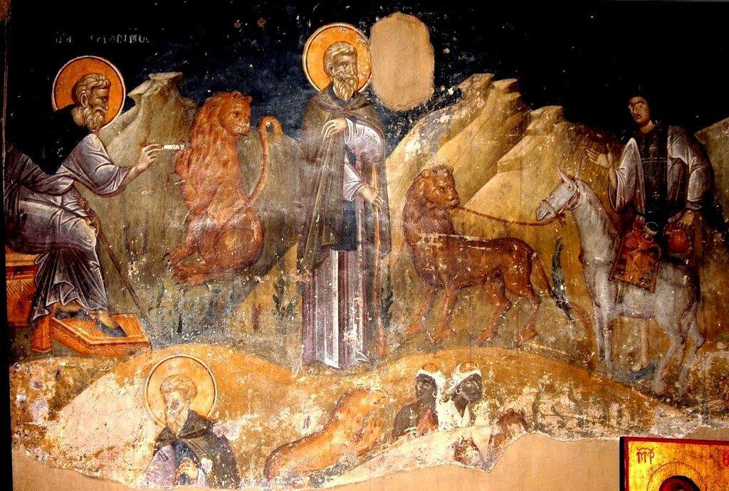Житие Святого Преподобного Герасима Иорданского. Фреска церкви Святого Николая Орфаноса в Салониках, Греция. 1310 - 1315 годы.