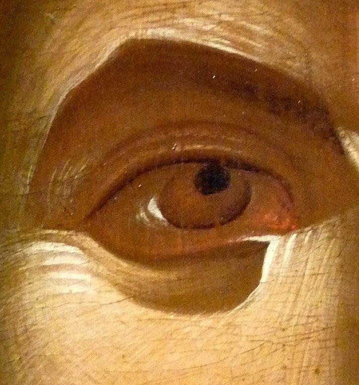 """Лик Спасителя. Фрагмент византийской иконы """"Христос Пантократор"""" (Вседержитель). Середина XIV века. Галерея икон в Охриде, Македония."""