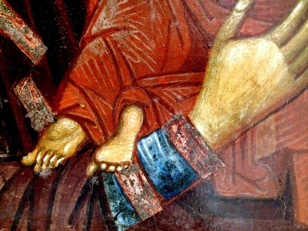 Пресвятая Богородица с Младенцем. Византийская икона XIV века. Национальный музей средневекового искусства в г. Корча, Албания. Фрагмент.