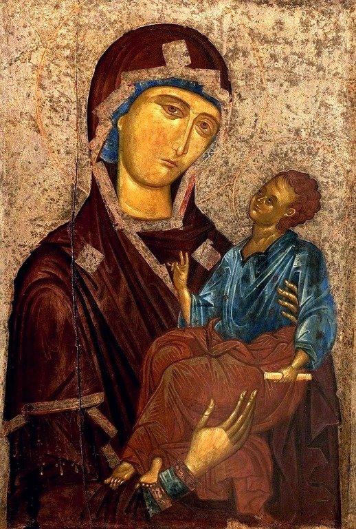 Пресвятая Богородица с Младенцем. Византийская икона XIV века. Национальный музей средневекового искусства в г. Корча, Албания.