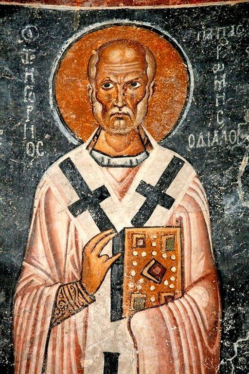 Святитель Григорий Двоеслов, Папа Римский. Фреска собора Святой Софии в Охриде, Македония. XI век.