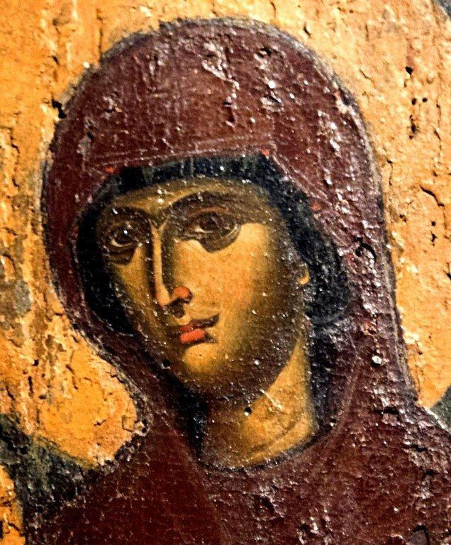 Богоматерь Дексиократуса. Византийская икона XIV века. Византийский музей в Верии, Греция. Фрагмент.