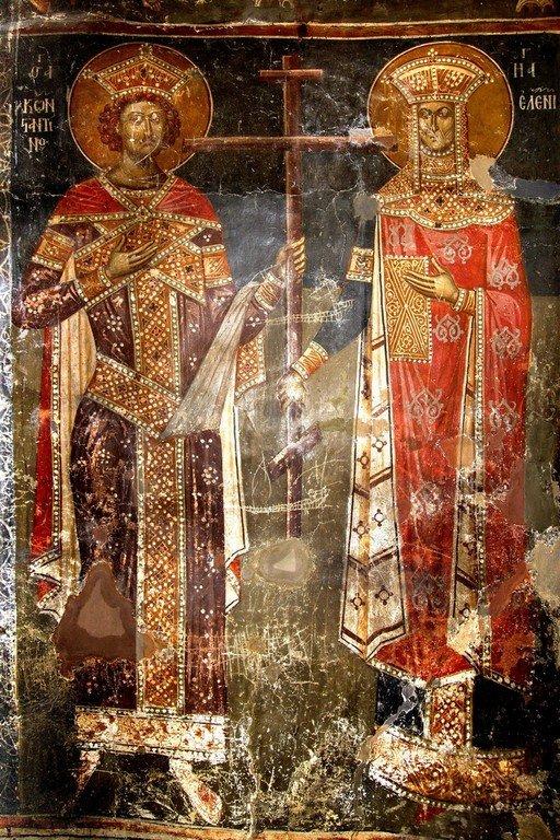 Святые Равноапостольные Царь Константин и Царица Елена. Фреска церкви Святого Афанасия ту Музаки в Кастории, Греция. 1383 - 1384 годы.
