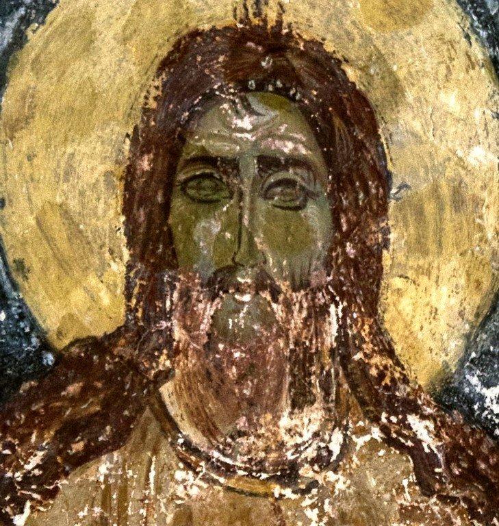 Святой Преподобный Алексий, человек Божий. Византийская фреска в церкви Старая Митрополия в Верии, Греция.