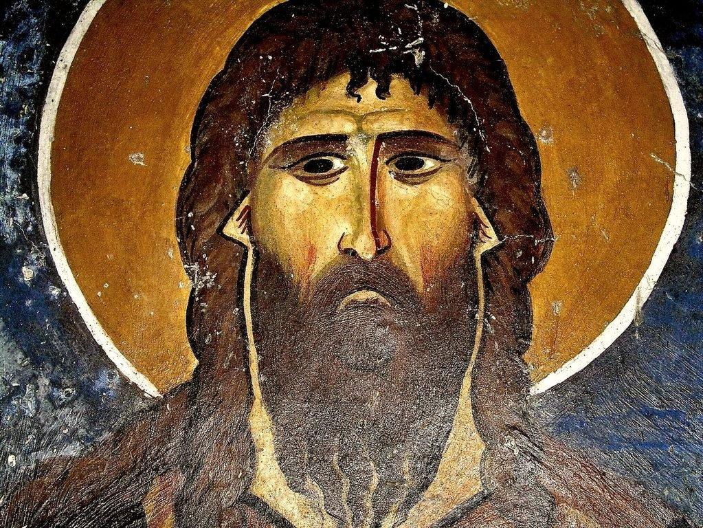 """Святой Преподобный Алексий, человек Божий. Фреска церкви Святого Николая """"тис стегис"""" (""""под крышей"""") на Кипре. XII век."""