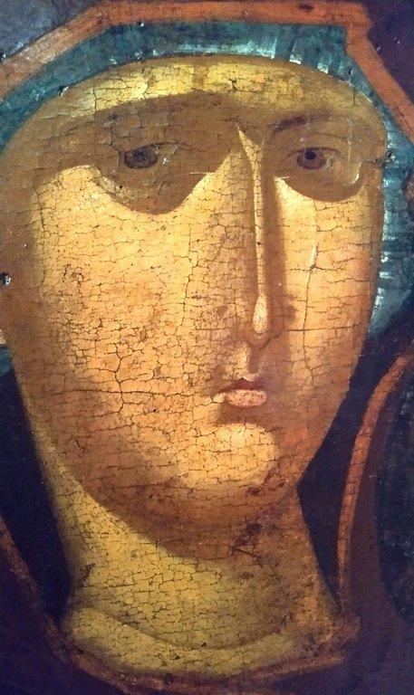 Богоматерь Одигитрия. Византийская икона 1315 года. Иконописец Георгий Каллиергис. Византийский музей в Верии, Греция. Фрагмент.