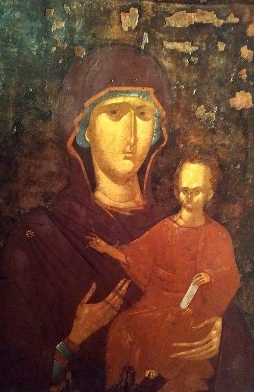 Богоматерь Одигитрия. Византийская икона 1315 года. Иконописец Георгий Каллиергис. Византийский музей в Верии, Греция.