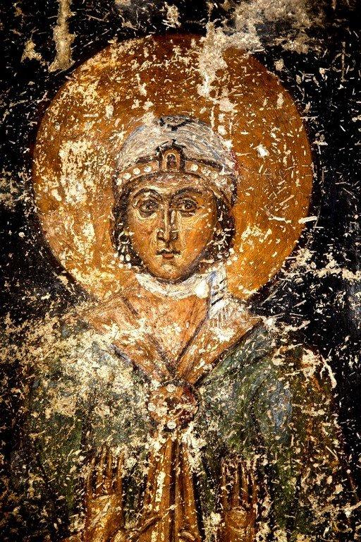 Святая Мученица Фотина Самаряныня. Фреска церкви Святого Николая Каснициса в Кастории, Греция. Конец XII века.