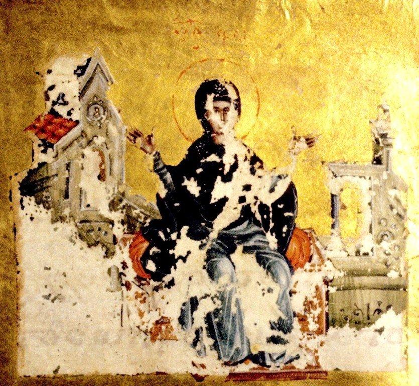 Миниатюра рукописи Акафиста ко Пресвятой Богородицы. Византия, 1350 - 1360-е годы. ГИМ.