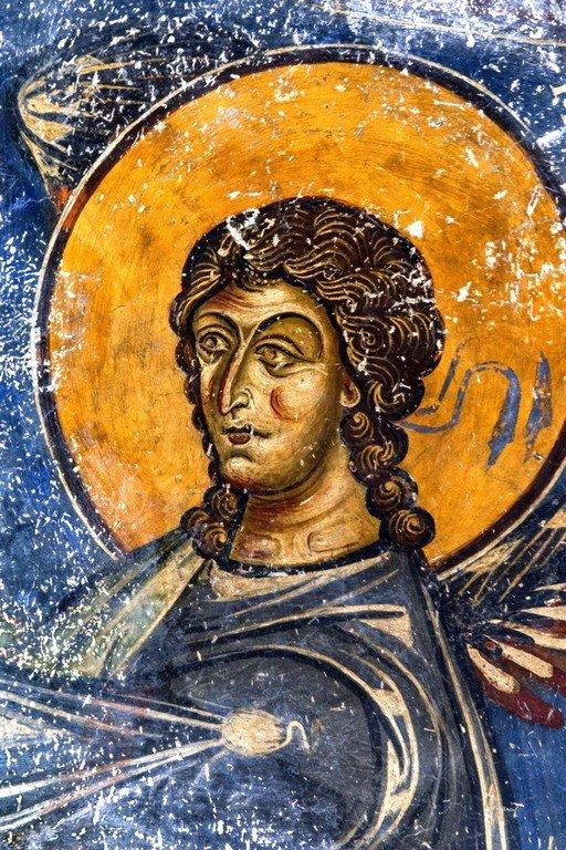 Архангел Гавриил. Фреска церкви Святого Николая Каснициса в Кастории, Греция. Конец XII века.