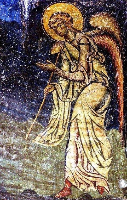 Архангел Гавриил. Фреска церкви Святых Врачей в Кастории, Греция. Конец XII века.