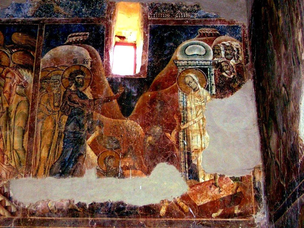 Воскрешение Праведного Лазаря. Фреска церкви Святого Георгия в Курбиново, Македония. 1191 год.