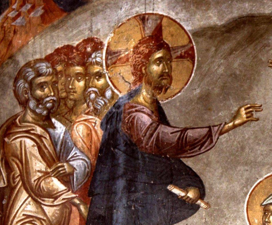 Воскрешение Праведного Лазаря. Фреска церкви Святого Афанасия ту Музаки в Кастории, Греция. 1383 - 1384 годы. Фрагмент.