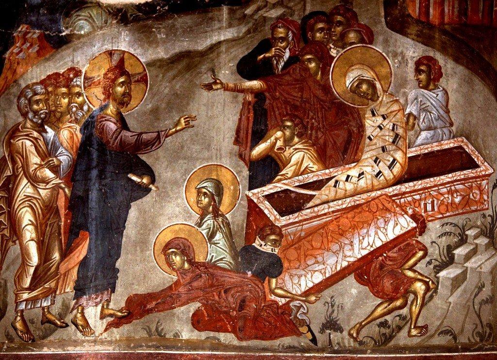 Воскрешение Праведного Лазаря. Фреска церкви Святого Афанасия ту Музаки в Кастории, Греция. 1383 - 1384 годы.
