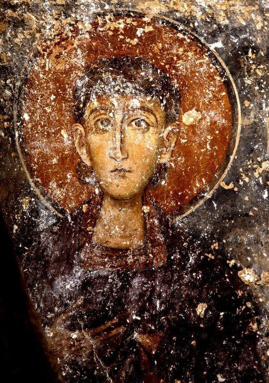 Лик Святого. Фреска монастыря Влахерна (Влахернского монастыря) близ Арты, Греция. Середина XIII века.