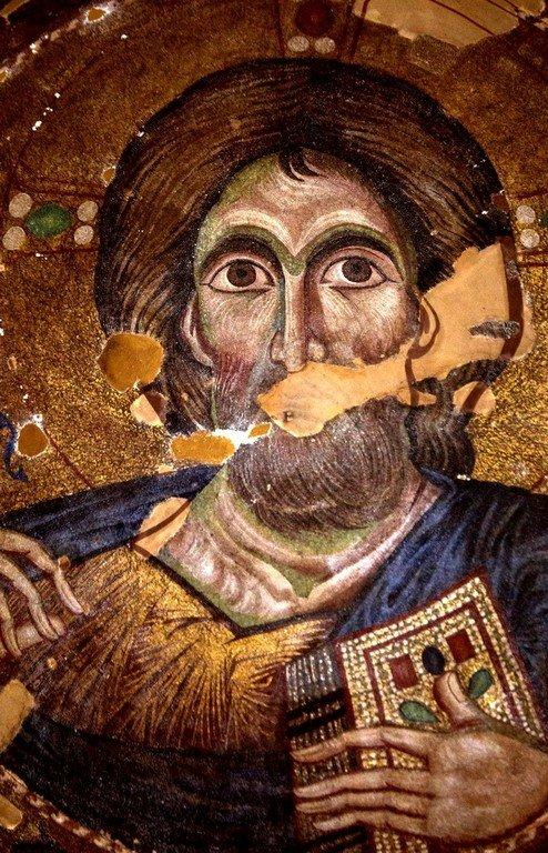 Христос Пантократор. Мозаика купола церкви Панагии Паригоритиссы в Арте, Греция. 1290 год. Фрагмент.