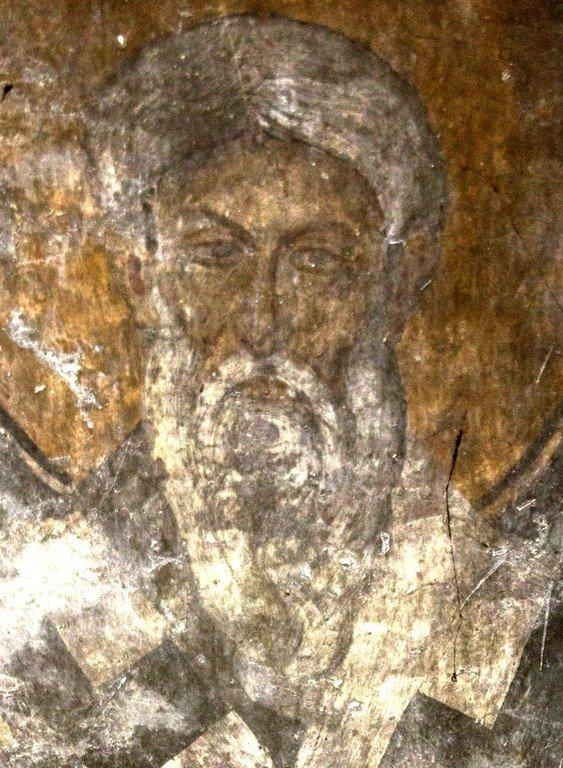Святитель. Фреска церкви Святого Димитрия Кацуриса в Арте, Греция. Конец XIII века.