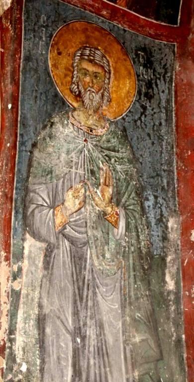 """Святой Мученик Терентий. Фреска церкви Святого Николая """"тис стегис"""" (""""под крышей"""") на Кипре."""