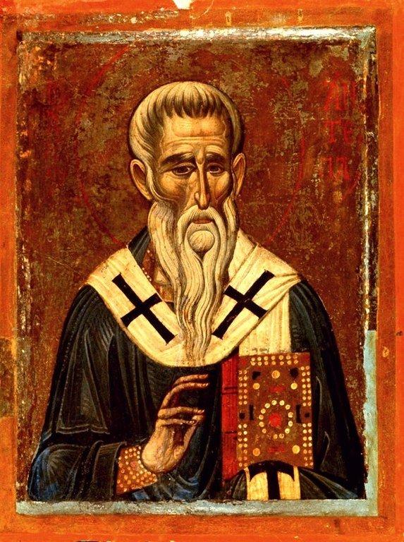 Священномученик Антипа, Епископ Пергама Асийского. Икона XIII века в монастыре Святой Екатерины на Синае.