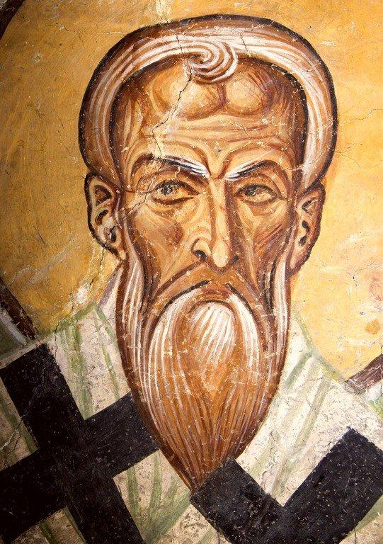 Священномученик Антипа, Епископ Пергама Асийского. Фреска церкви Святого Пантелеимона в Нерези близ Скопье, Македония. 1164 год.