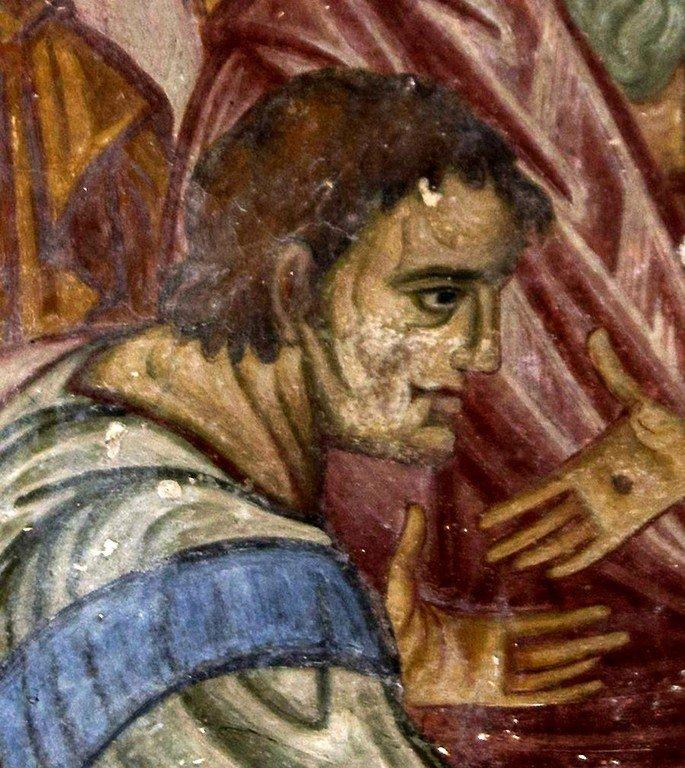 Уверение Апостола Фомы. Фреска монастыря Влахерна (Влахернского монастыря) близ Арты, Греция. Середина XIII века. Фрагмент.