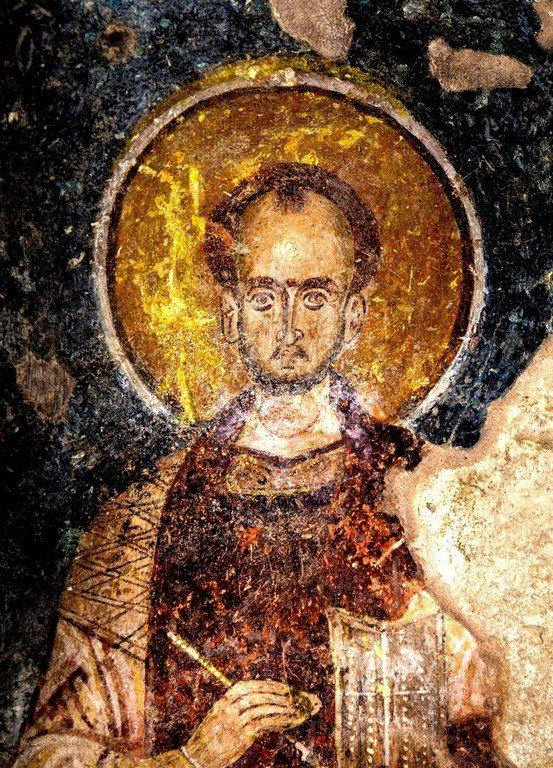 Святой Врач (Косма или Дамиан). Фреска церкви Святого Василия у моста в Арте, Греция.