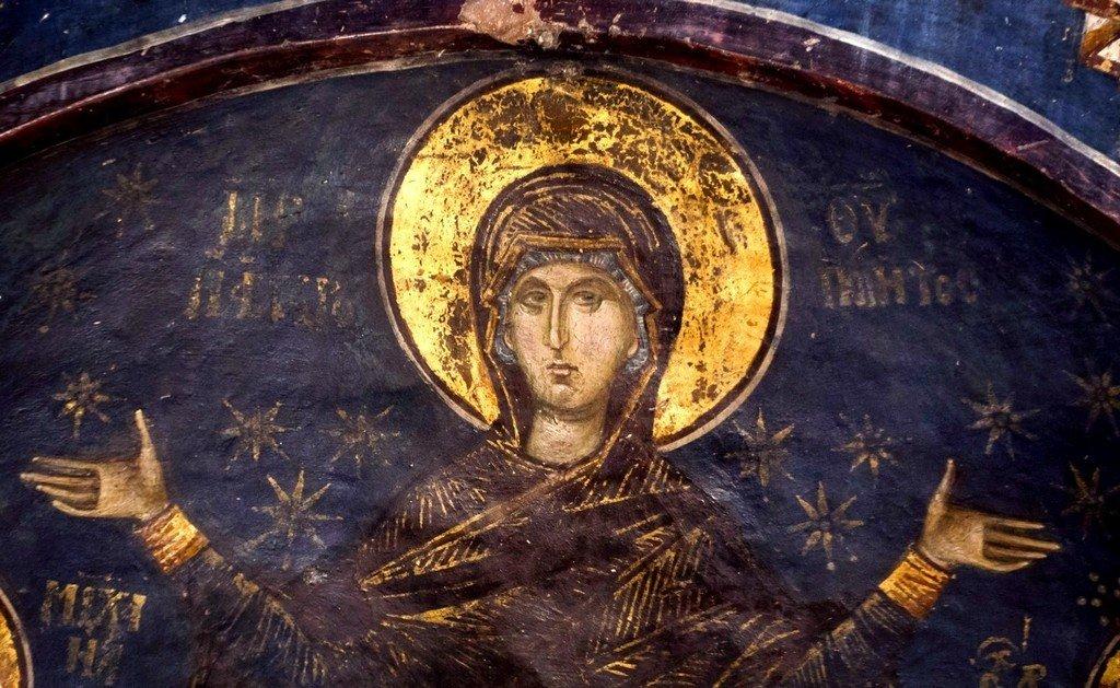 Богоматерь Оранта.Фреска церкви Святого Николая Орфаноса в Салониках, Греция. 1310 - 1315 годы.
