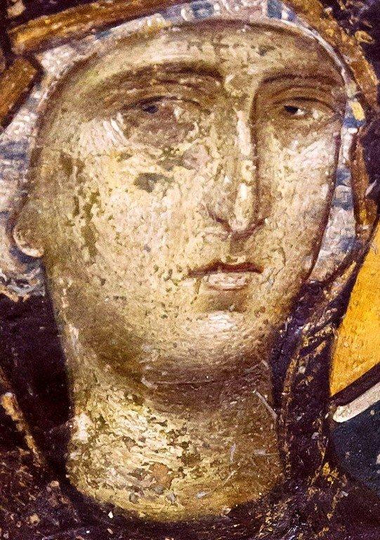 Богоматерь Одигитрия. Фреска церкви Святого Николая Орфаноса в Салониках, Греция. 1310 - 1315 годы. Фрагмент.